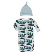 Fish & Wildlife Layette Gown Converter & Hat Set Natural Cabins and Tents