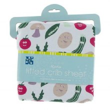 Bamboo Fitted Crib Sheet Illusion Blue Happy Veggies