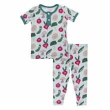 Culinary Arts Short Sleeve Henley Pajama Set Illusion Happy Veggies