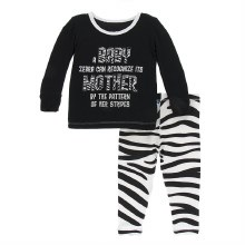 Kickee Pants Pajamas in Natural Zebra 2T
