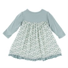 Kickee Pants Tokyo Long Sleeve Swing Dress Jade Mushroom 12-18