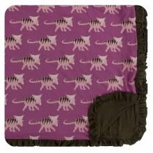 Kickee Pants Print Ruffle Toddler Blanket in Amethyst Kosmoceratops