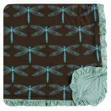 Kickee Pants Print Ruffle Toddler Blanket in Giant Dragonfly