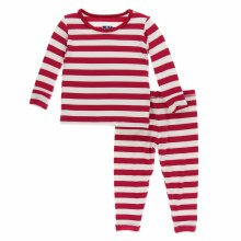 Kickee Pants Holiday Long Sleeve Pajamas Candy Cane Stripe 2019 2T