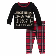 Kickee Pants Holiday Long Sleeve Pajamas Jingle Bells 2T