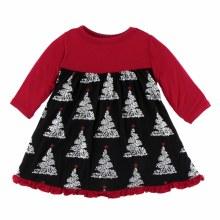 Kickee Pants Holiday Long Sleeve Swing Dress Midnight Foil Tree 3-6m