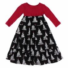 Kickee Pants Holiday Long Sleeve Tiered Dress Midnight Foil Tree 12-18