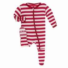Kickee Pants Holiday Print Footie Candy Cane Stripe 2019 3-6m