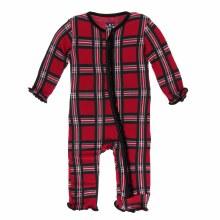 Kickee Pants Holiday Print Muffin Ruffle Coverall Christmas Plaid 2019 9-12m