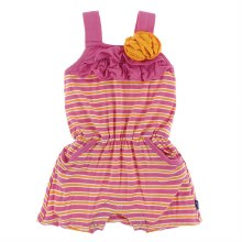 Kickee Pants Flower Romper in Flamingo Brazil Stripe 3T
