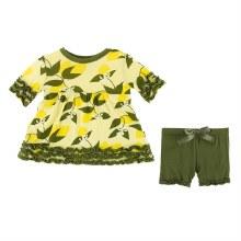 Kickee Pants Tuscany Babydoll Outfit Set Lime Blossom Lemon Tree 12-18m