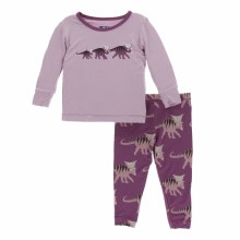 Kickee Pants Long Sleeve Pajamas in Amethyst Kosmoceratops Family