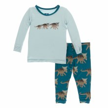 Kickee Pants Long Sleeve Pajamas in Heritage Blue Kosmoceratops Family
