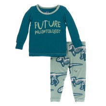 Kickee Pants Long Sleeve Pajamas in Shore Future Paleontologist2T