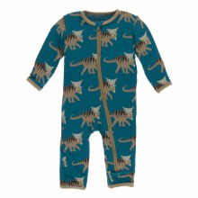 Kickee Pants Print Coverall with Zipper in Heritage Blue Kosmoceratops