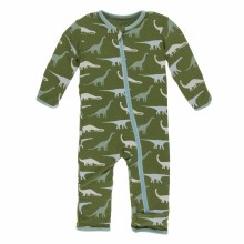 Kickee Pants Print Coverall with Zipper in Moss Sauropods