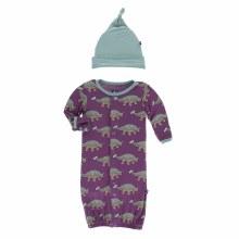 Kickee Pants Print Gown Converter & Knot Hat Set in Euoplocephalus