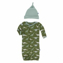 Kickee Pants Print Gown Converter & Knot Hat Set in Moss Sauropods