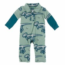 Kickee Pants Print Long Sleeve Double Layer Polo Romper in Shore T-Rex Dig