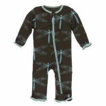 Kickee Pants Print Muffin Ruffle Coverall in Giant Dragonfly