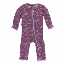 Kickee Pants Print Muffin Ruffle Coverall in Shell Fossils