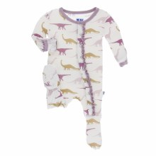 Kickee Pants Print Muffin Ruffle Footie in Natural Sauropods