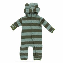 Kickee Pants Print Quilted Hoodie Coverall in Paleontology Fauna Stripe & Moss Sauropods