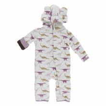 Kickee Pants Print Quilted Hoodie Coverall in Natural Sauropods & Paleontology Flora Stripe