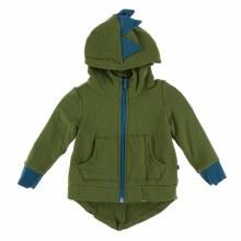 Kickee Pants Fleece Zip-Front Dino Hoodie in Moss with Heritage Blue