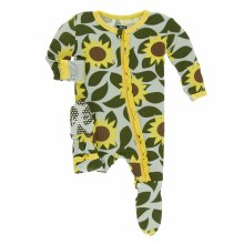 Kickee Pants Tuscany Print Muffin Ruffle Footie Aloe Sunflower 0-3m