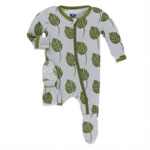 Kickee Pants Botany Print Footie  Dew Philodendron  3-6m