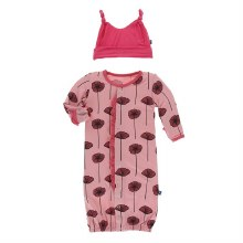 Kickee Pants Botany Print Ruffle Gown Converter & Hat Set Strawberry Poppies  0-3m