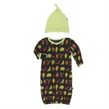 Kickee Pants Botany Print Ruffle Gown Converter & Hat Set Zebra Garden Veggies NB