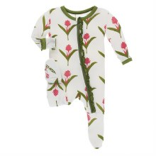 Kickee Pants Botany Print Muffin Ruffle Footie  Natural Red Ginger Flowers  0-3m