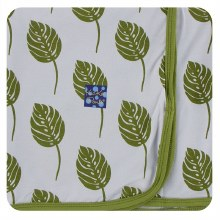 Kickee Pants Botany Print Swaddle Blanket  Dew Philodendron