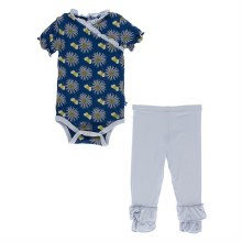 Kickee Pants Botany Short Sleeve Kimono Onesie & Pant Set Navy Cornflower & Bee 12-18