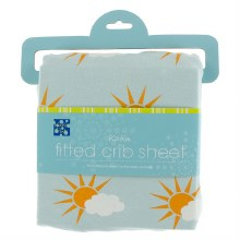 Kickee Pants Print Fitted Crib Sheet in Spring Sky Partial Sun