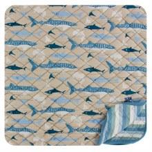 Kickee Panta Oceanography Print Quilted Toddler Blanket Shark Stripe