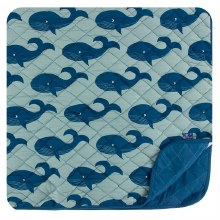 Kickee Pants Oceanography Print Quilted Toddler Blanket Jade Whales & Twilight