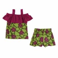 Kickee Pants Cancun Print Cancun Outfit Set  Pesto Hibiscus 18-24