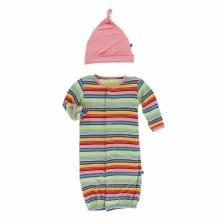 Kickee Pants Cancun Print Layette Gown Converter + Hat Set Cancun Strawberry Stripe PR