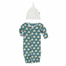 Kickee Pants Cancun Print Layette Gown Converter + Hat Set Seagrass Tacos PR