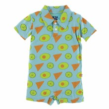 Kickee Pants Cancun Print Short Sleeve Polo Romper Avocado, Chips, and Lime 3-6m