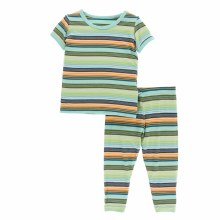 Kickee Pants Cancun Short Sleeved Pajamas  Cancun Glass Stripe  2T