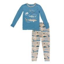 Kickee Pants Oceanography Long Sleeve Pajama Set Burlap Sharks 2T
