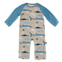 Kickee Pants Oceanography Print Long Sleeve Raglan Romper Burlap Sharks 6-12m