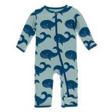 Kickee Pants Oceanography Print Coverall Jade Whales 9-12m