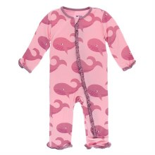 Kickee Pants Oceanography Print Muffin Ruffle Coverall Lotus Whales 9-12m