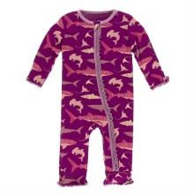 Kickee Pants Oceanography Print Muffin Ruffle Coverall Melody Sharks 9-12m
