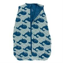 Kickee Pants Oceanography Print Quilted Sleeping Bag Jade Whales 0-6m